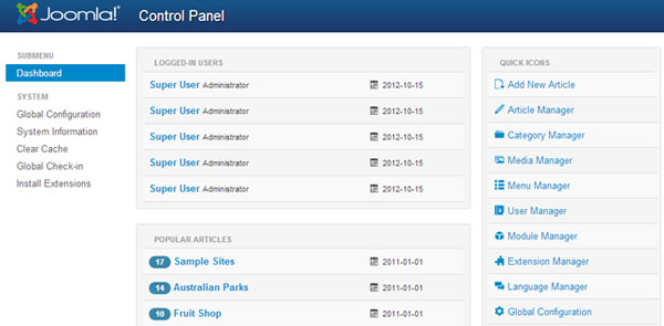 Joomla dashboard 3.0